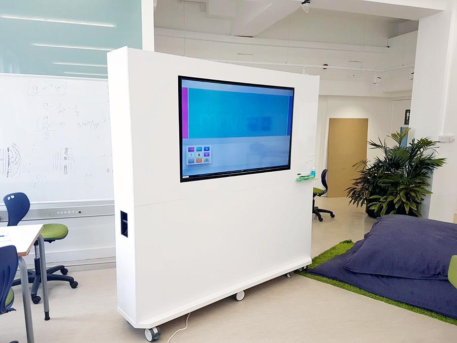 Mobile whiteboard tv unit