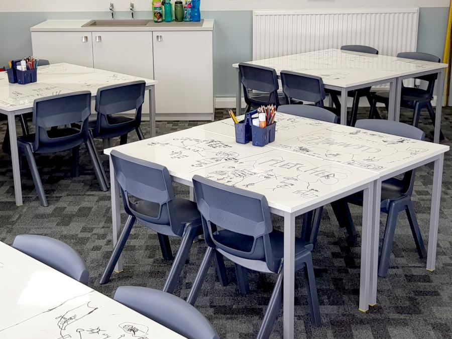 Whiteboard desks in a classroom setting