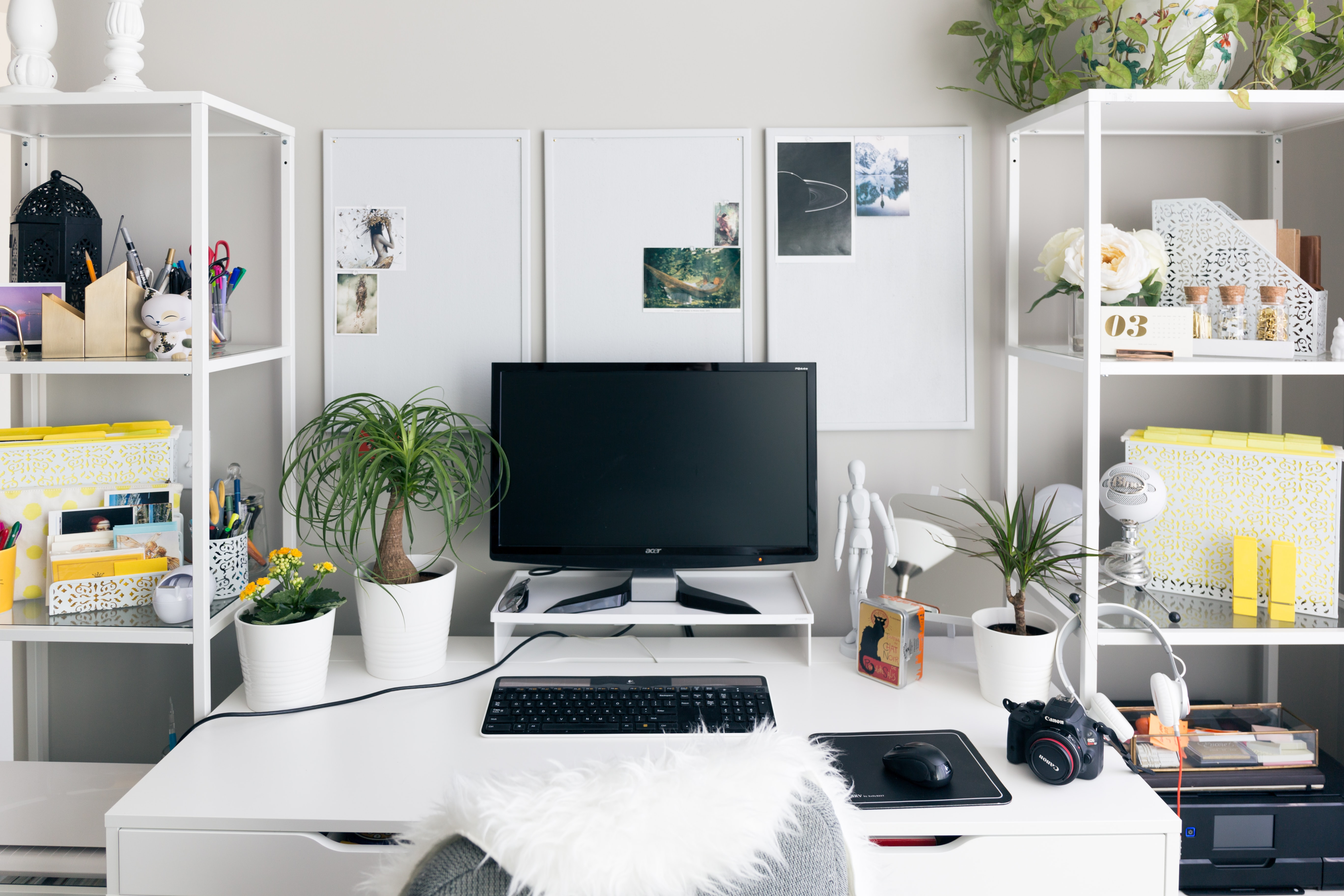 home office whiteboards, white desk and white shelving