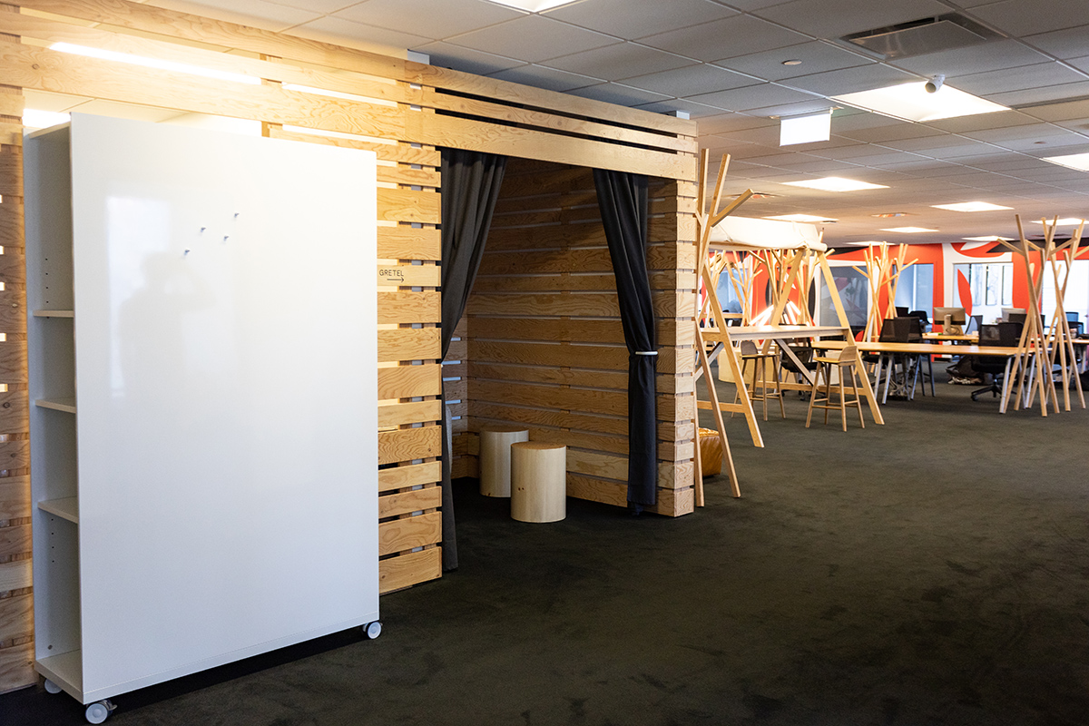 rolling whiteboard with shelves