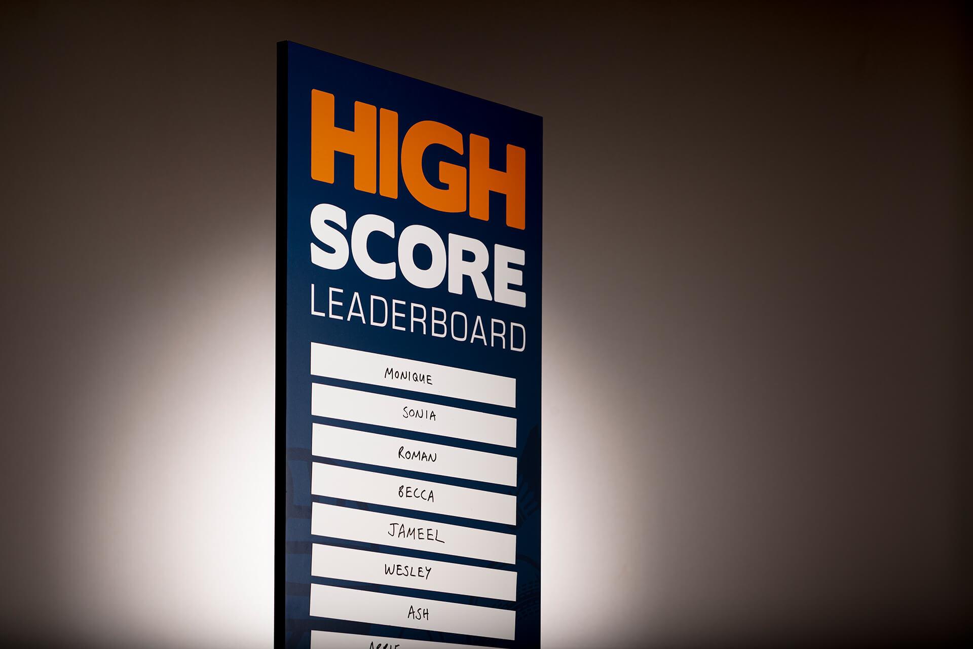 Custom printed leaderboard